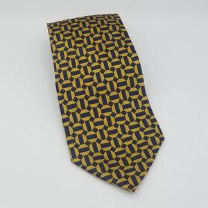 Tongue Tied Silk Blue Gold Geometric Tie